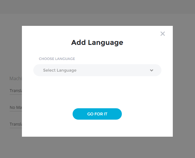Add Language Popup - Bablic Dashboard