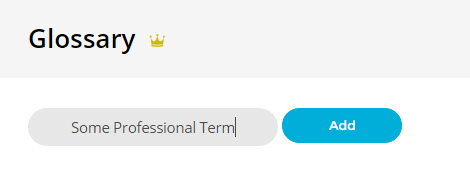 Adding Words to Glossary - Bablic Dashboard