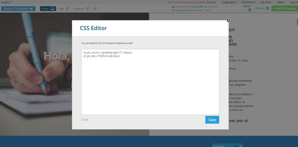CSS Editor - Bablic Visual Editor