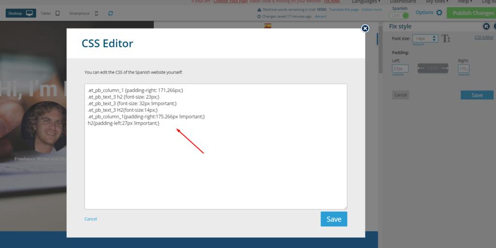 CSS Editor Popup - Bablic Visual Editor