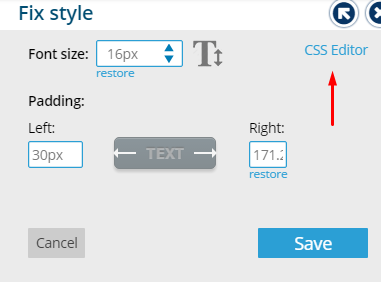 Click on CSS Editor Link - Bablic Visual Editor