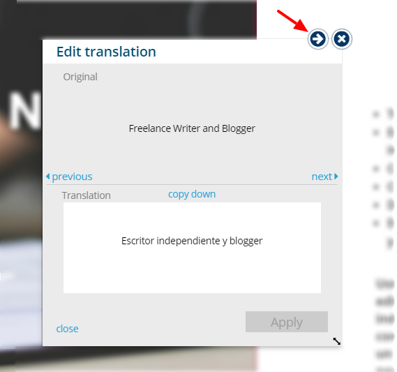 Click on top arrow - Edit Translation - Bablic Visual Editor