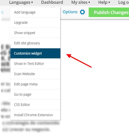 Customize Widget - Options Menu - Bablic Visual Editor