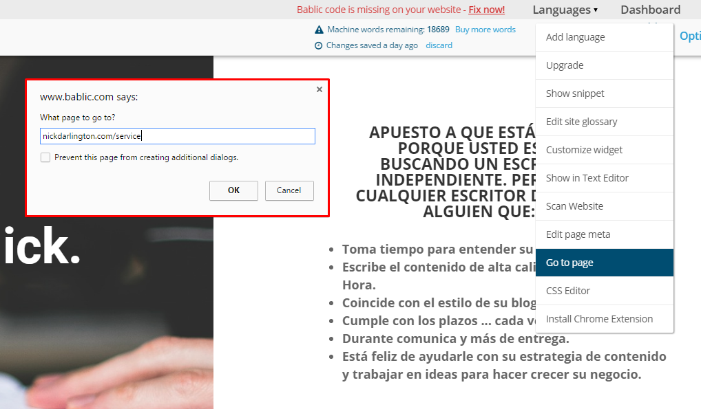 Go To Page Popup - With URL - Bablic Visual Editor