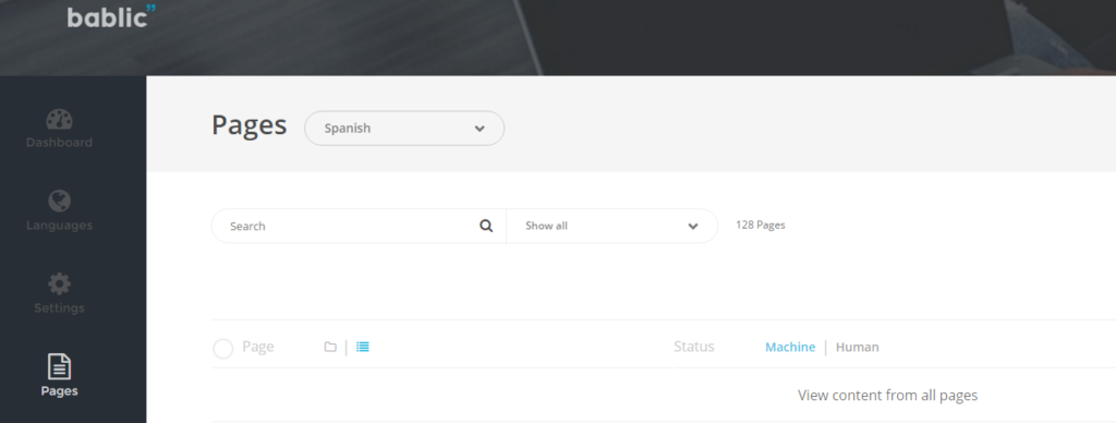 Searching and Filtering Content - Bablic Dashboard