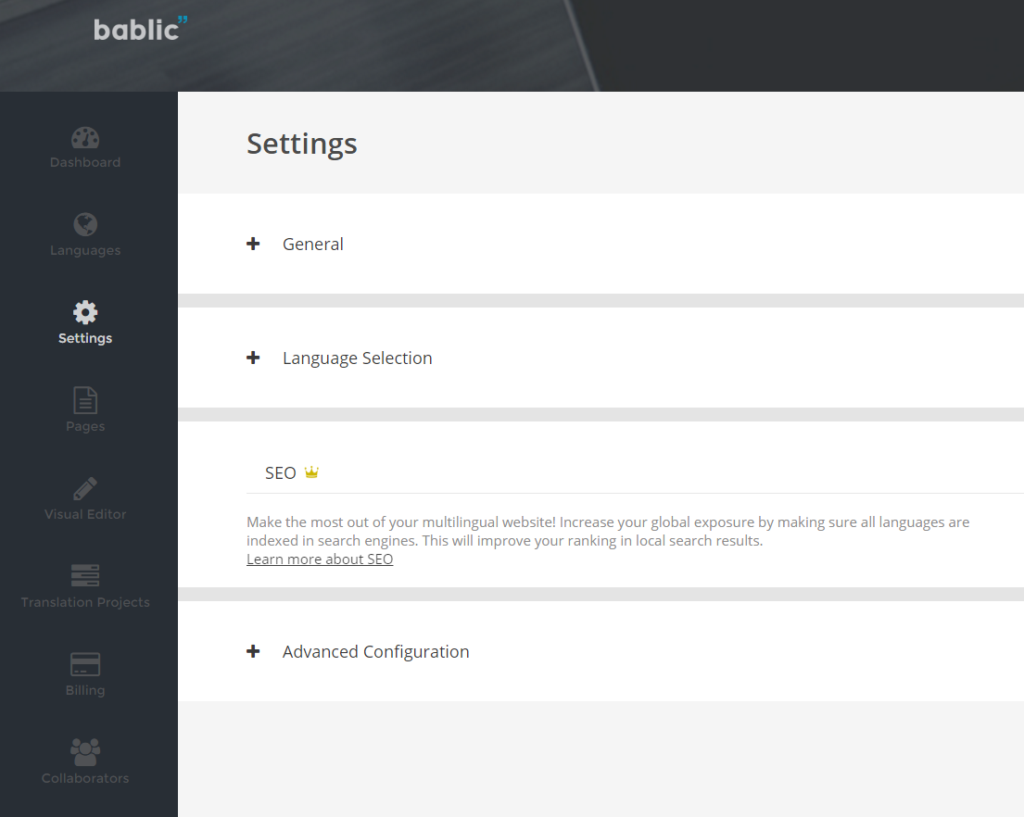Settings - Bablic Dashboard