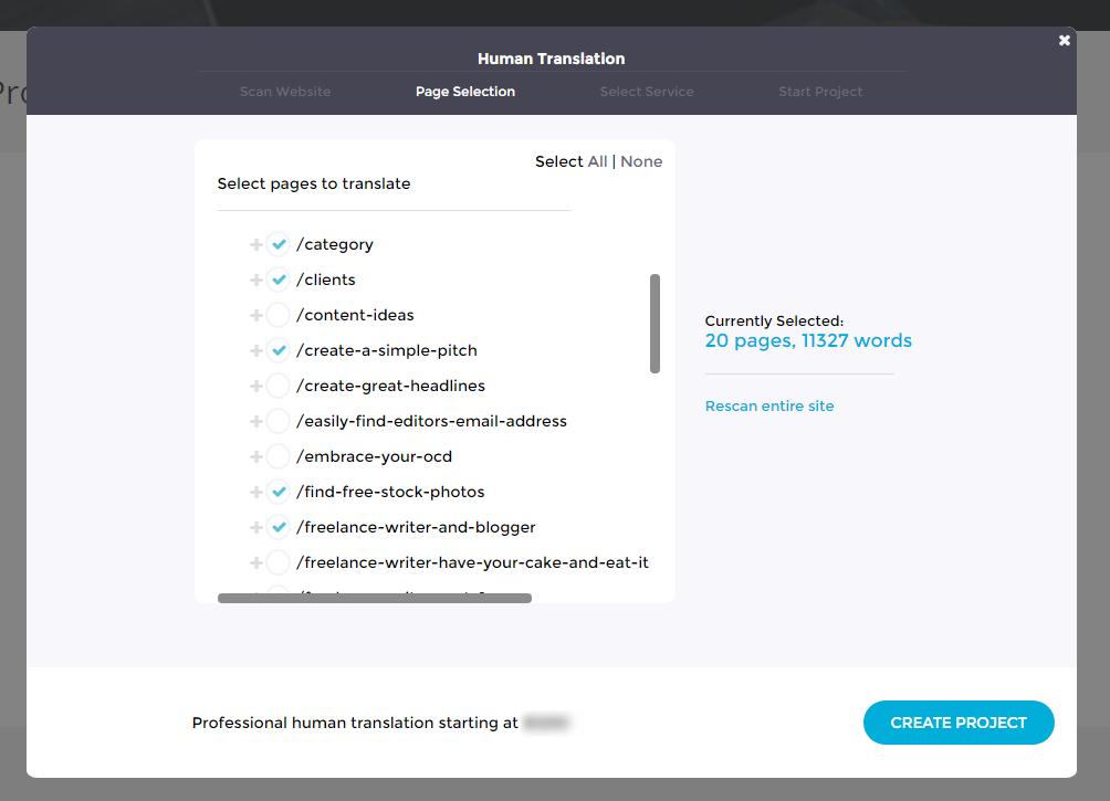Translation Projects - Professional Human Translation - Select Pages - Bablic Dashboard