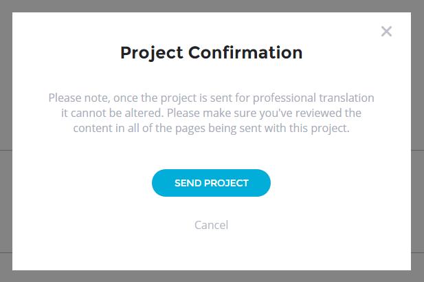 Translation Projects - Professional Human Translation - Send Project Popup - Bablic Dashboard